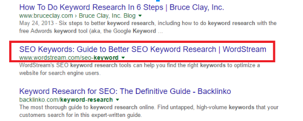 Example of a SEO-friendly headline