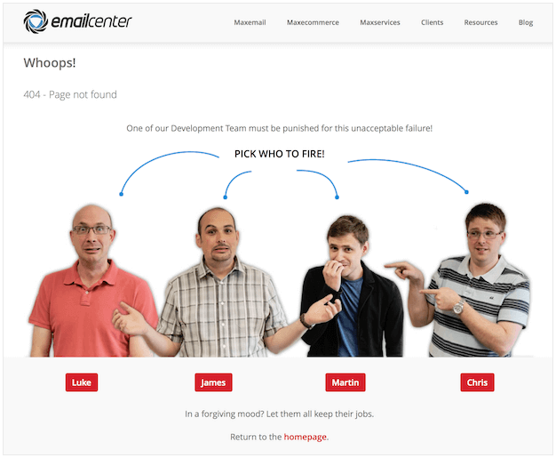 EmailCenter 404 error page not found