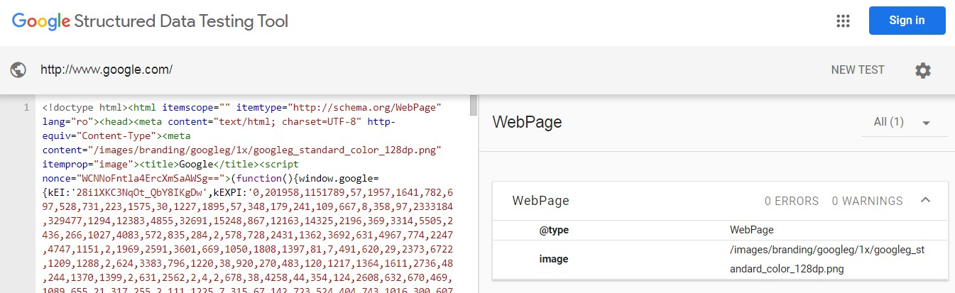 Google Structured Data Testing Tool Results