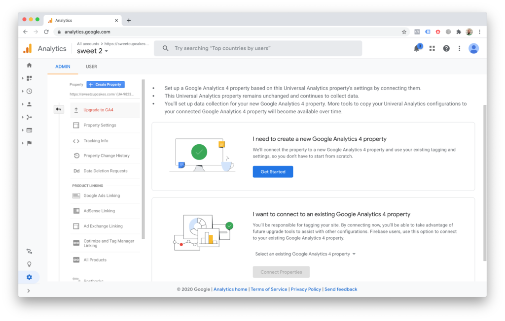 How to create a new Google-Analytics 4 property